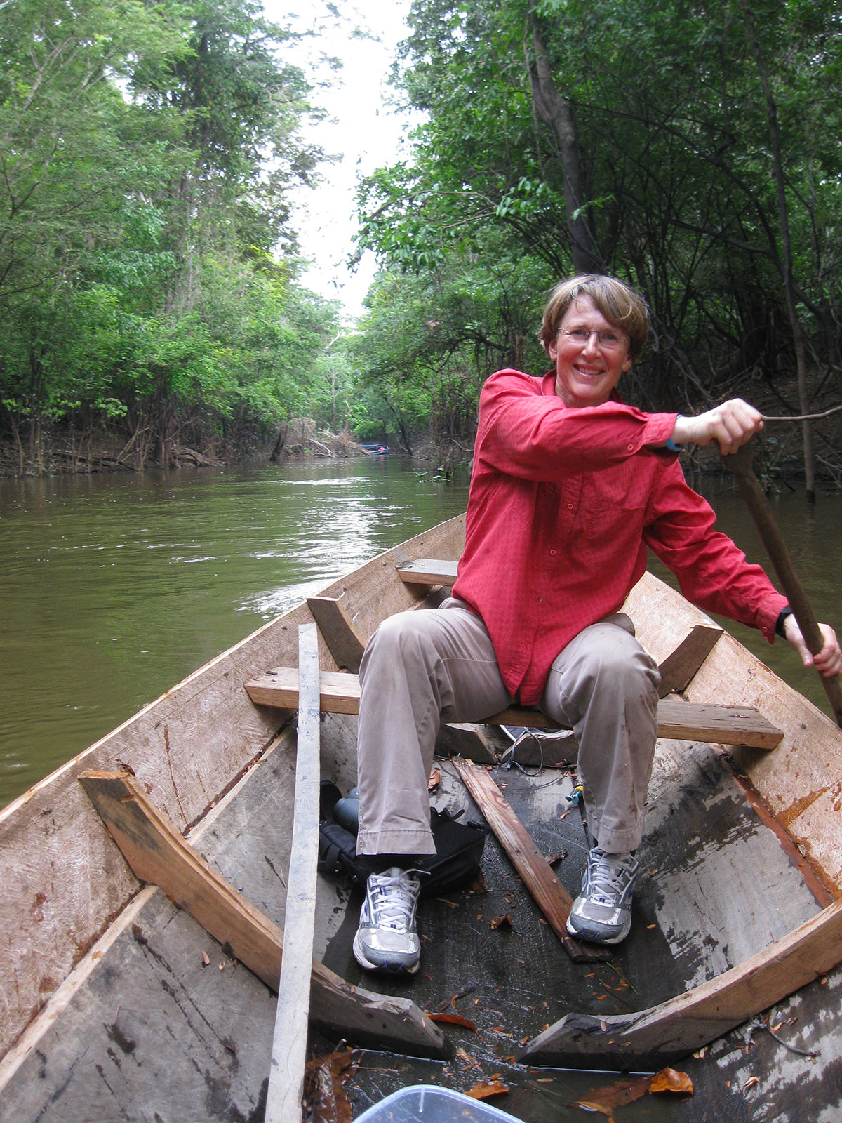 Lisa rowing in the Amazon